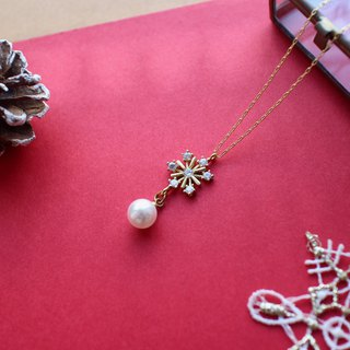 Christmas snow-Brass  zircon necklace