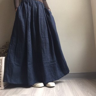 #雾中森林#European elegant dark blue pockets and long skirt / 100% linen