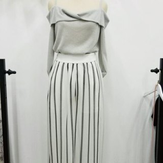 Straight striped slim trousers skirt 2 colors