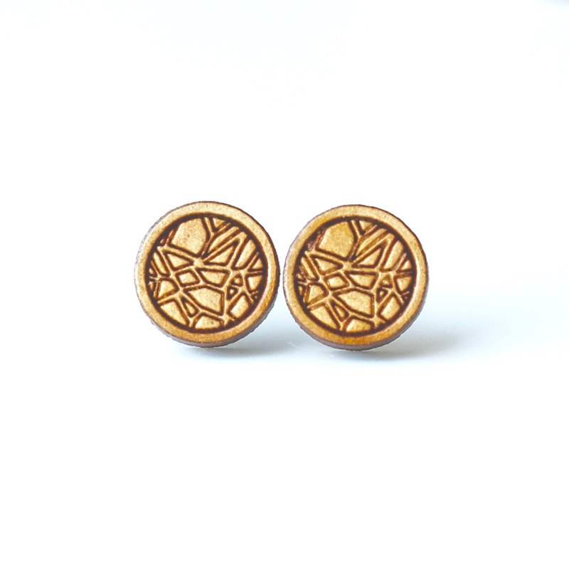 Plain wood earrings-Round