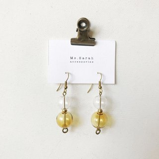 Glass Bubble_Brass Earrings_Perspective Oriental (can be changed)
