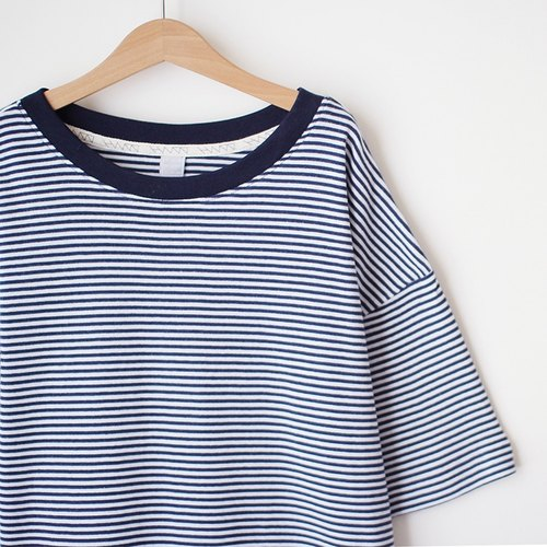 Loose-shouldered version of soft, light, soft, green, blue, white striped Tee-S Sold Out