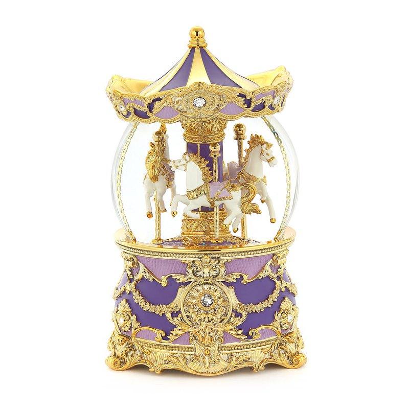 異國風情旋轉木馬(燈光)水晶球音樂盒  情人生日結婚禮物療癒小物