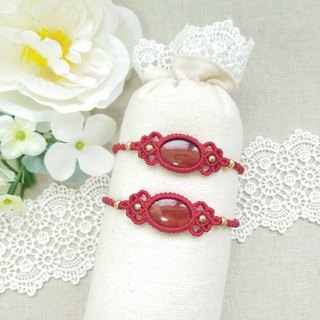 BUHO hand-made. Flowers. Red Jasper X South American Brazilian Wax Line Bracelet