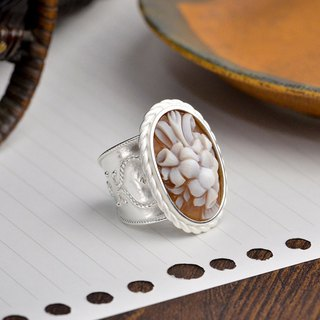 Italian handmade shell carving light jewelry - Raphael series handmade shell carving ring - A500S