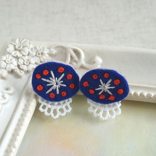 "Hand embroidery pierced earring""Navy oval"""