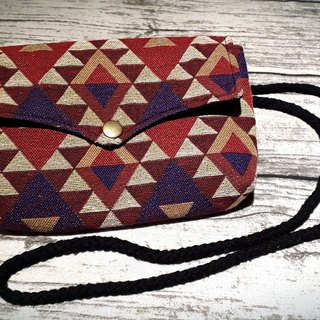 AMIN'S SHINY WORLD Hand-made national Ling grid triangular seagull cover copper shoulder bag