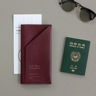 ICONIC gold buckle half-fold passport long clip - Bogen Red, ICO52576