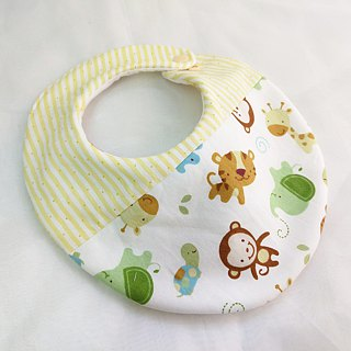 Elephant monkey good friend. Double-sided bib (up to 40 embroidery name)