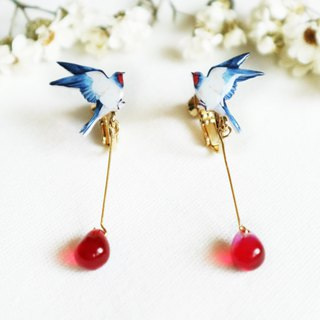 Swallow long earrings ear clip