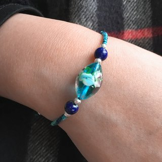Blue Love Glass Bracelet | Valentines Day Gift | Glass String Bracelet | Love