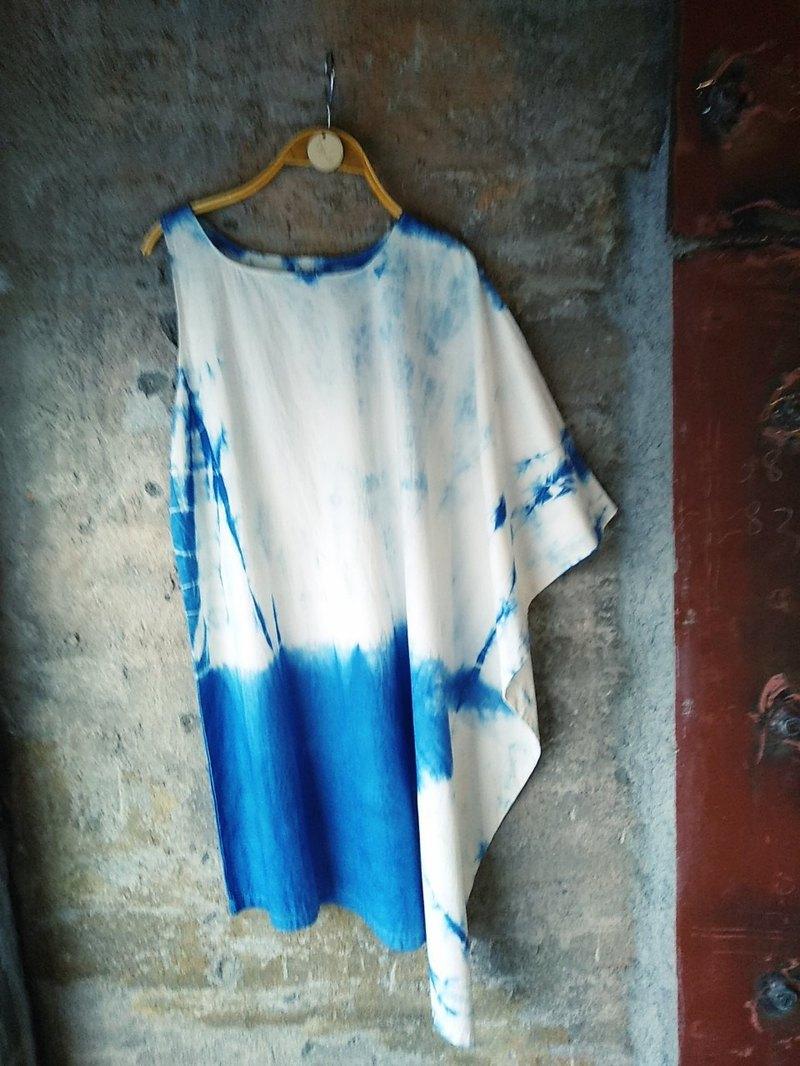 自在染isvara 手工藍染 紮染系列 不規則洋裝