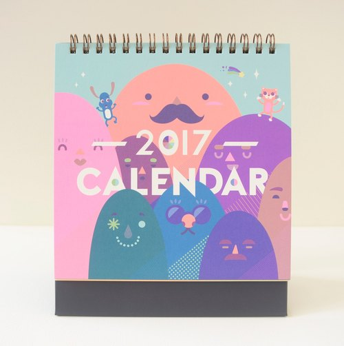 2017 Rock pen stencil printing desk calendar playful Release (10 ordered area)