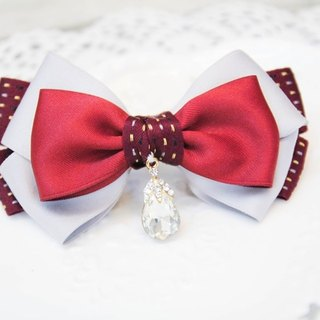 Sweet House Christmas red bow French clip