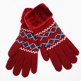 [Winter ceremony] touch knit gloves red and blue crossed collar limited models