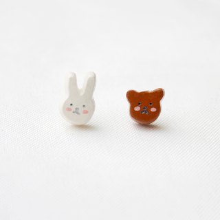 Handmade rabbit and bear  earrings
