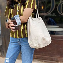 White Canvas 2way Bucket Bag w/  Strap Leather Handles