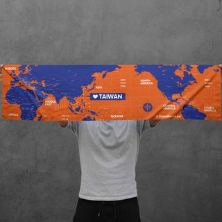 Make World map manufacturing sports towel (靛橘)