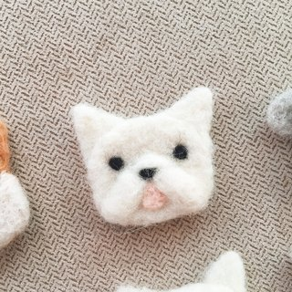 Wool pets - French bulldog  brooch