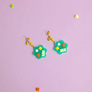 Natural Flowers Green Mosaic Blocks Earrings