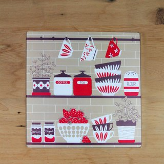 Britain imported Rayware Nordic kitchen totem glass cutting board / placemat / insulation pad (grey) - spot