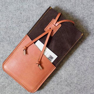 YOURS Mobile Phone Case Leather Suede + Bright Orange Leather