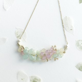 [Fleur d'amour] Hydrangea True Flower Necklace Necklace 18K Gold Plated Christmas Presents