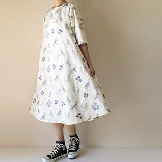 Embroidery Flower and Animals White Flare One Piece Dress