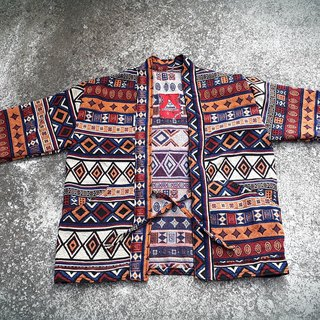 AMIN'S SHINY WORLD KIMONO ethnic handmade custom geometric totem orange blue hood coat coat