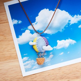 Hot air balloon - handmade white porcelain necklace