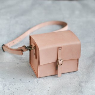 Classy Hand Stitched nude Leather Camera Case