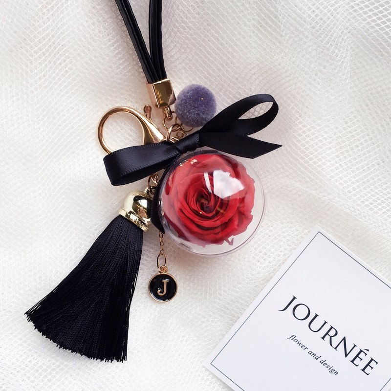 Journee red eternal rose ball charm key ring custom letter round dry flower