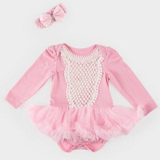 Baby Girl Chiffon Pompon Dress Jumpsuit - Aurora (Long Sleeve)