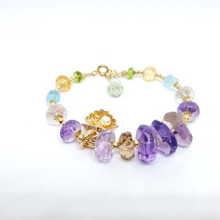 Girl Crystal World - Palette rhythm - Quintet [Ametrine] Hand made natural crystal bracelet