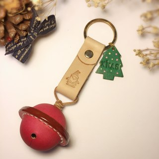 [Christmas bells defining leather key ring] Christmas gift / exchange gifts / Christmas gift / free English words engraved