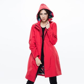 Herench British style waterproof breathable trench coat - passion red