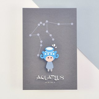 The 12 constellations character birthday card and postcard - Aquarius