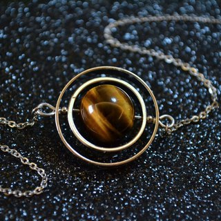 Spinning little planet Tiger's eye stone necklace