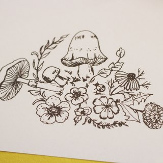 Forest of mushroom stamp