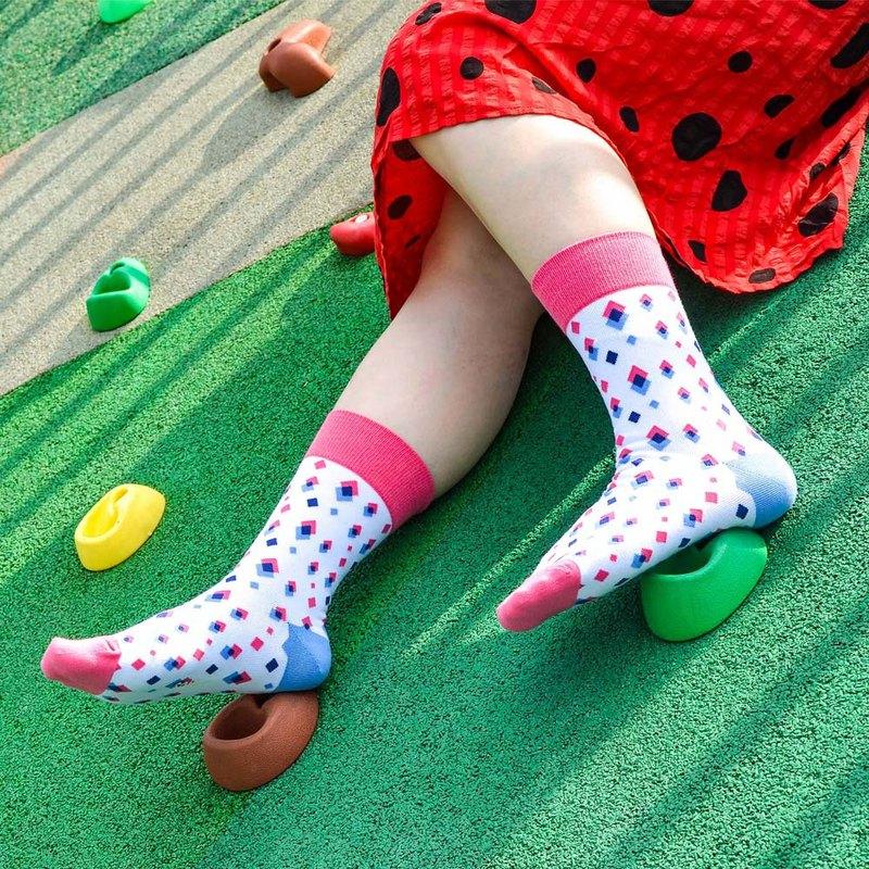 【女友禮物/免運】幾何疊樂4分之3女短襪│質感禮盒包裝