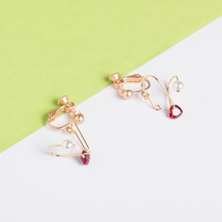 The original heart zircon love earrings girl heart ins heart ear clip pearl earrings
