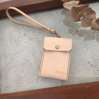 (Lapse) Straight ID card holder, ID card holder, card holder, business card, hand-stitched, original leather
