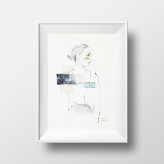 Nordic style hand-painted pencil watercolor painting NO.2 murals / home furnishings / interior design