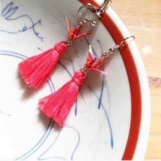 Crane Tassel Earrings (or Ear Clips)_Wedding