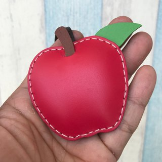 Handmade leather red cute apple handmade sewn leather charm small size