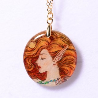 Mermaid side of the hand-painted hand-painted plastic heat shrinkable film, 18K package gold necklace, limited solitary goods only this one