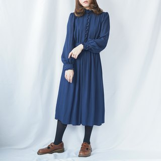 Vintage Navy Blue Ruffles Dress