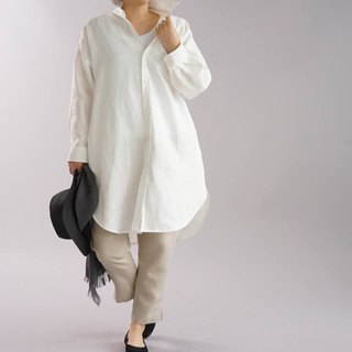 wafu   linen big shirts / loose fitting / oversize / long sleeve / white /b32-24