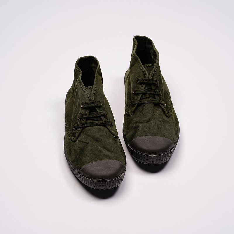 西班牙帆布鞋CIENTA U60777 22墨綠色 黑底 洗舊布料 大人 Chukka