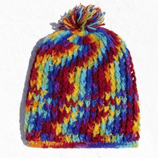 Christmas gift limited handmade handmade pure wool hat / knitted hair hat / bristles hand knit hair hat / made wool cap (made in nepal) - rainbow rainbow progressive stripe